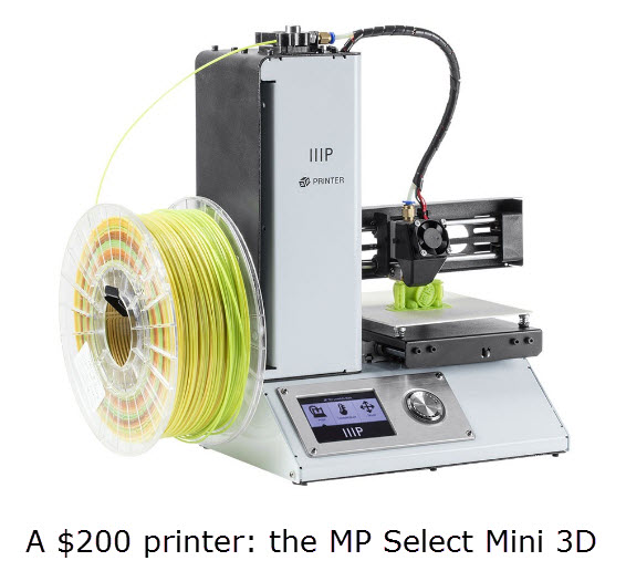 A $200 3D printer: the MP Select Mini 3D