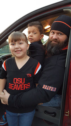 Chris Huffman, a proud HP worker for more than 20 years, and his children.