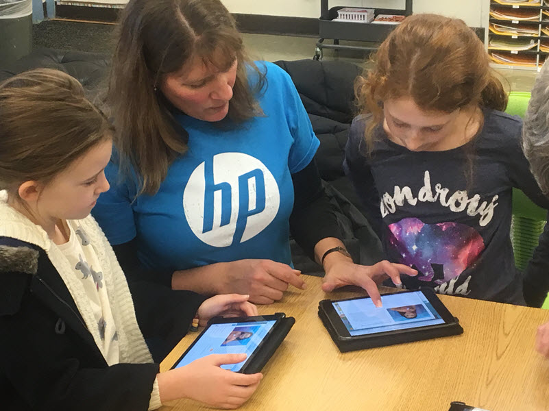 HP's Shelley Miller mentors Kate (left) and Scarlett (right)