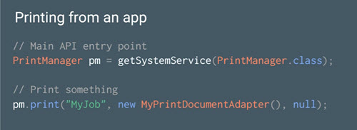 First lines of code to add printing to an Android app.