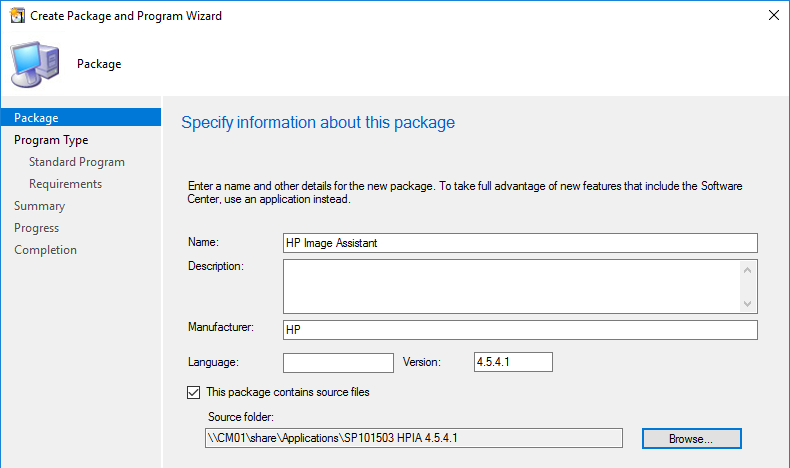 Create HPIA Package Dialog